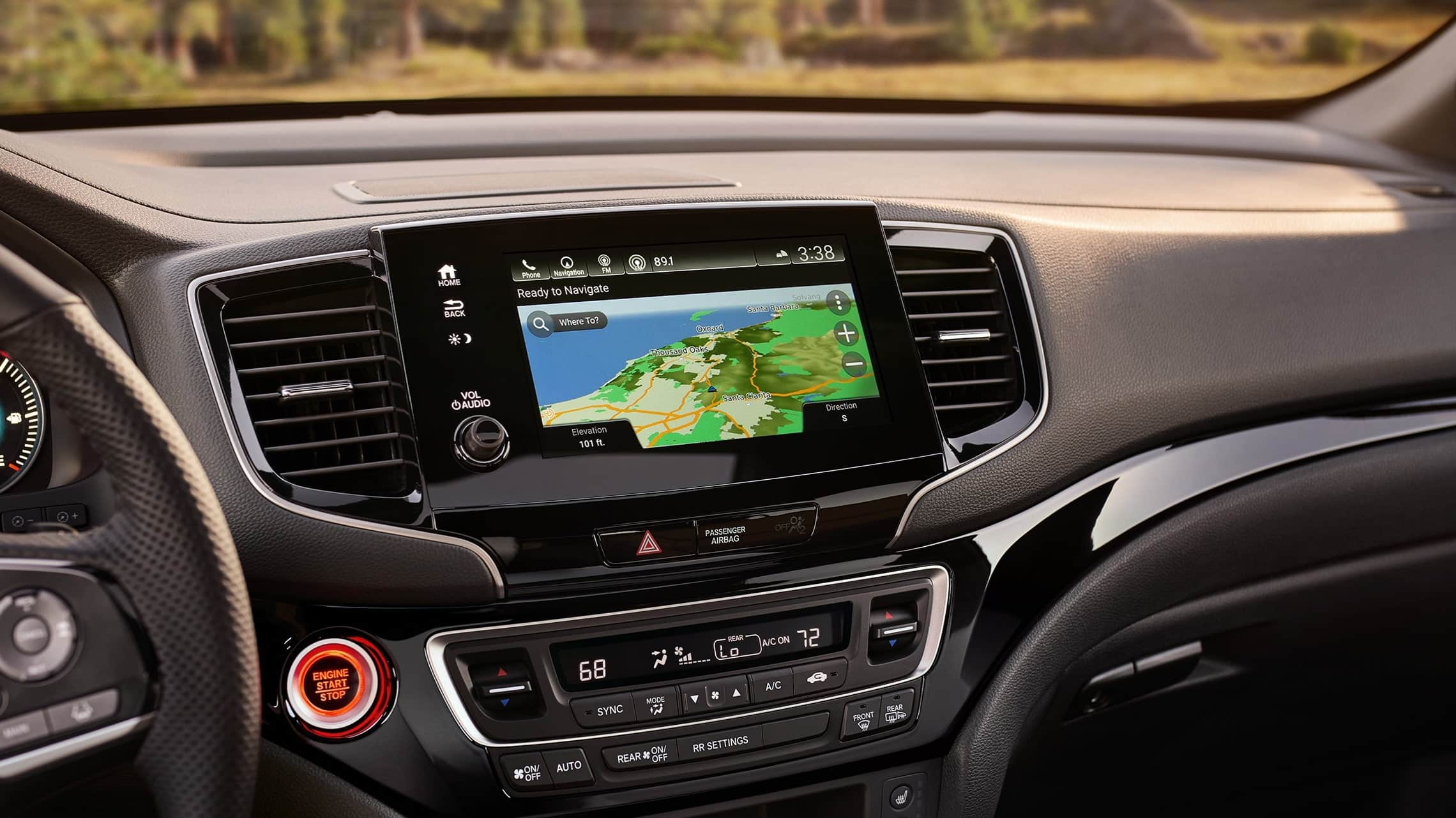 2019 Honda Passport featuring the Honda Satellite-Linked Navigation System™ touch- screen.