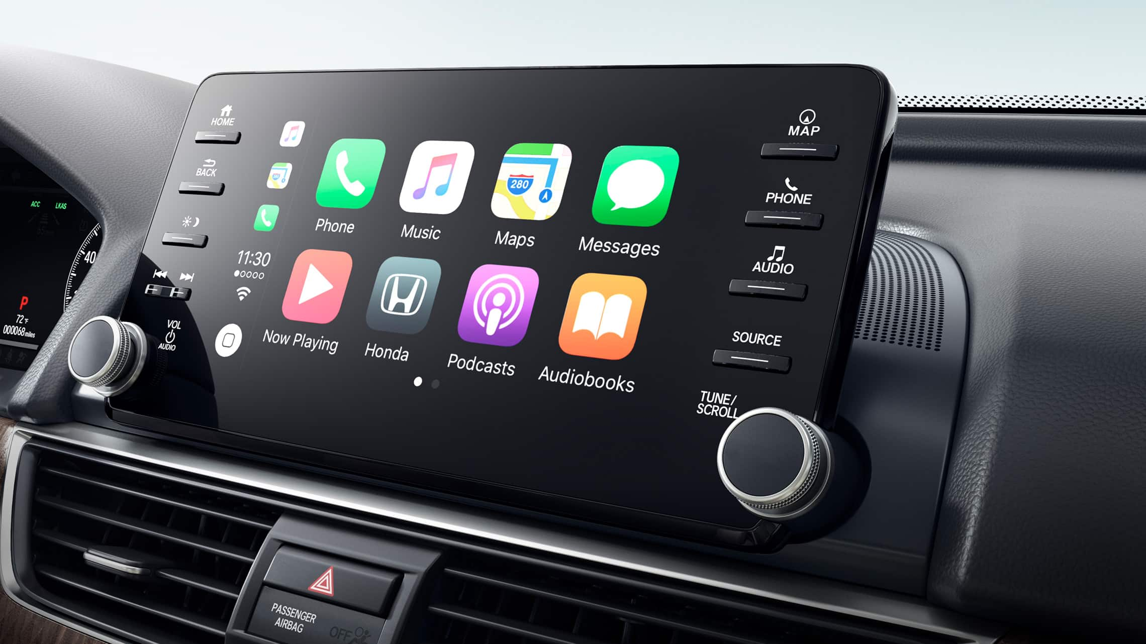 Apple CarPlay® integration displayed on Display Audio touch-screen in the 2020 Honda Accord Touring 2.0T.