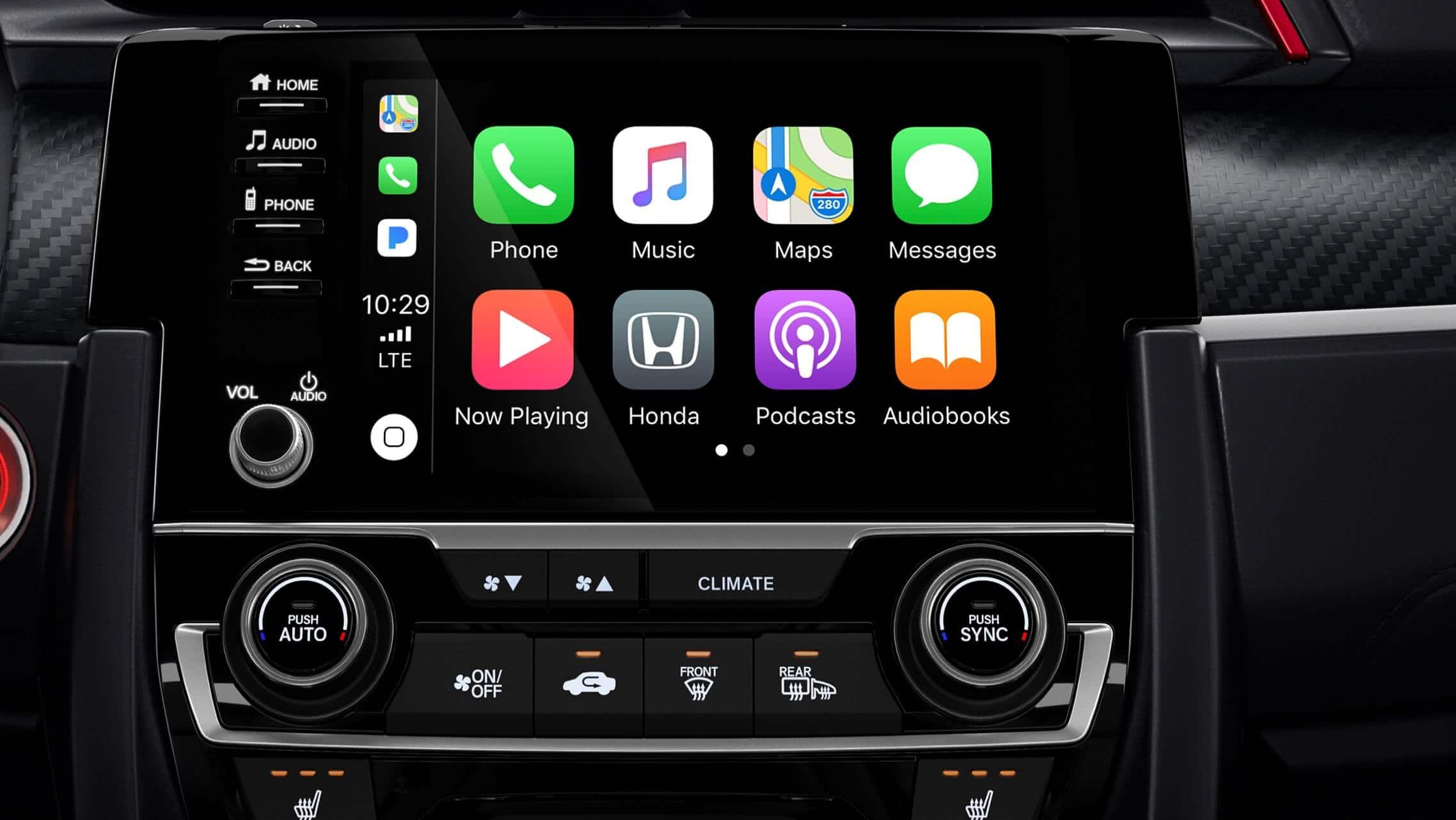 Apple CarPlay® detail on 7-inch Display-Audio touchscreen in the 2020 Honda Civic Si Coupe.